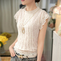 Women Fashion Blouses Elegant Lace Chiffon O Neck Shirt Tops With Petal Sleeves