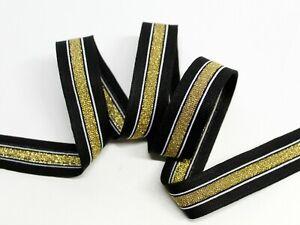 """Galonband """"schwarz-gold """", Galonstreifen, Hose-Streifen ,  2,5 cm breit"""