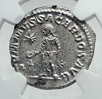 ELAGABALUS Sacrifices at ALTAR Ancient 221AD Rome Silver Roman Coin NGC i81290
