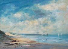 "BIG 12"" X 16"" Listed Artist Florida Seagulls Sailboats Painting Seago Interest"
