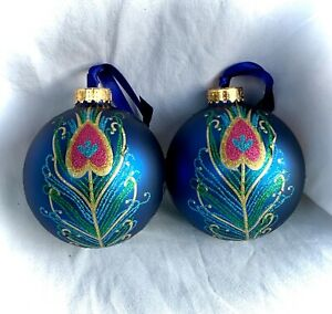 PAIR of~CYNTHIA ROWLEY~Designer  PEACOCK Feather CHRISTMAS Tree ORNAMENTS/ Balls