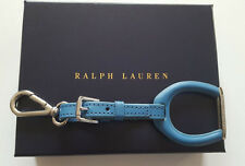 RALPH LAUREN BLUE LEATHER STAINLESS STEEL STIRRUP KEYCHAIN IN GIFT BOX ITALY