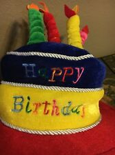 Happy Birthday Cake with Candles Felt Hat Over The Hill Old Timer Hat