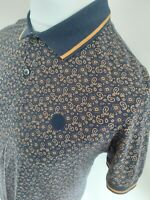 Pretty Green Paisley Floral Polo Shirt Blue Small 38 Chest Mod Ska Casuals...