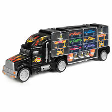 Kids 2-Sided Transport Car Carrier Semi Truck Toy With 18 Cars And 28 Slots