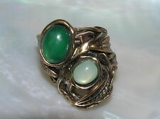 Estate Large Antique Bronze Leaves Nest with Two Green Oval Plastic Cabs Stretch