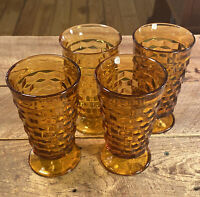 Vintage Amber Cubist Indiana Whitehall Set Of 4 Ice Tea Water Footed Glasses