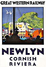 Pubblicità d'arte di Newlyn GRANDE Western Railway 1938 treno viaggio Deco Poster stampati
