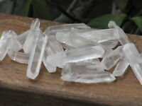 Drilled Polished Clear Quartz Crystal Points & Pieces x 5 - with drill holes
