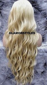 Human Hair Blend Hand Tied Lace Front Full Wig Long Wavy Bleach Blonde #613 NWT