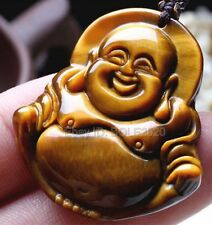 Natural Tiger's Eye Stone Carved Blessing Buddha Lucky Pendant + rope Necklace