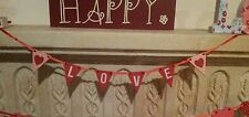 Wooden Mini Love Bunting Garland Red Pink Hanging Garland Valentines Gift