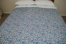 """Pretty Antique Vintage Floral Double Sided Wholecloth Quilt 80 x 72"""" Minor Flaws"""