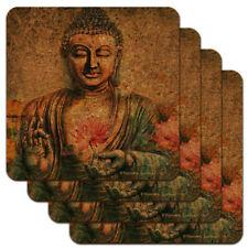 Buddha Pink Lotus Flowers Serenity Low Profile Novelty Cork Coaster Set