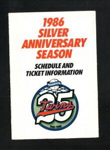 Minnesota Twins--1986 Pocket Schedule--SuperAmerica--25th Anniversary Logo