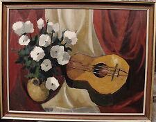 Stillleben mit Blumen und Gitarre, unleserlich signiert, datiert 1968