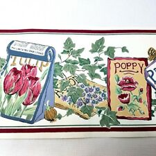 "Vintage Wallpaper Border Country Garden Flower Seeds SP 7356-B York 7"" x 5 yds"
