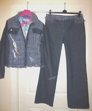 FUEGO Blue Jean Denim Suit with Multi Textured Wool Size M/L Price Tags £404