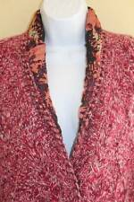 PETER SOM Pink Thick Cabled Plush 100% Cashmere Art-to-Wear Jacket Sweater Sz S