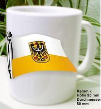 Armoiries Drapeau De La Basse Silésie Dans Le Vent Sur Uune Tasse De Café