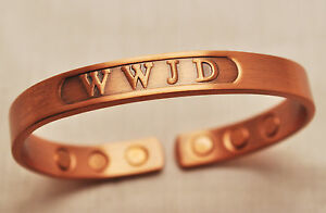 UNISEX 6.5 IN 100% COPPER WWJD? HEALING MAGNETIC THERAPY BANGLE / CUFF : 4 Pain!