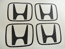Honda 4 x Carbon H Centre Cap Stickers Decal Civic FN2 Type R K20 JDM OEM