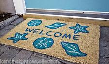 DOOR MATS - SEASHELL COIR WELCOME MAT - SHELL DOOR MAT - NAUTICAL WELCOME MAT