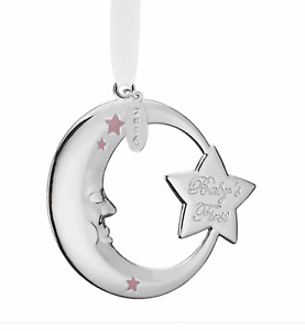 Reed & Barton 2016 Baby Girl First Christmas Pink Moon Silver-plate Ornament