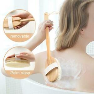Natural Wood Bath Shower Body Back Brush Bristle SPA Handles Scrub Massage Z