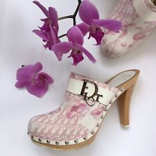 Vtg Christian DIOR Monogram Clog- Pink Galliano 2004 Flower Mule Heels- EU39 US8