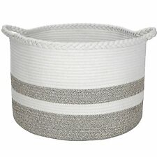 Cotton Rope Basket for Living Room Blanket Storage - Kids Playroom Storage Organ