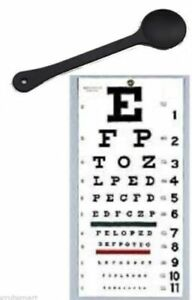 "New FULL SIZE Snellen 22"" x 11"" Plastic Eye Test Wall Eye Chart WITH OCCLUDER !"