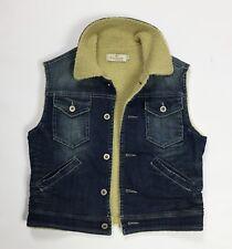 Please smanicato jeans S jacket usato donna senza manica giacca sherpa T3898