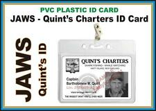 JAWS ID - QUINT'S CHARTERS ID Badge Card Prop Printed on a PVC Plastic Card USA