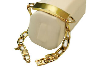 18k Yellow Gold Layered Curb Link Chain 8mm Wide X 8.5 inch Thick ID Bracelet
