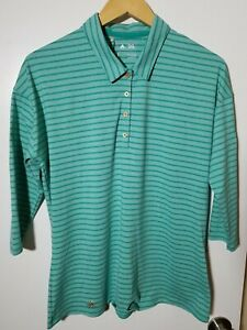 1 NWT ADIDAS WOMEN'S LS POLO, SIZE: LARGE, COLOR: GREEN STRIPED (J199)