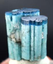 114.5 CT Terminated Electric Bight Blue Cap Star Cat's Eye Tourmaline Crystal
