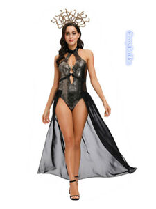 C1 Sexy Women's Greek Goddess Costume Medusa Snake Lover Halloween Costume
