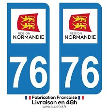 2 STICKERS AUTOCOLLANT PLAQUE IMMATRICULATION DEPARTEMENT 76 REGION NORMANDIE