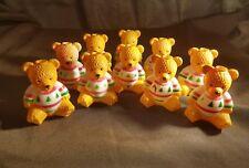 "10 Ugly Sweater Teddy Bear Christmas Tree Light Covers Set Vintage 2.5"""