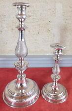 2 candeliere antichi metallo argentato decorazione rullino grande piccolo