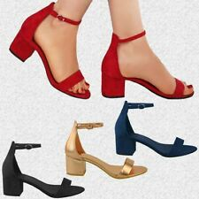 Womens Ladies Low Block Heel Ankle Strap Sandals Evening Party Prom Shoes Size