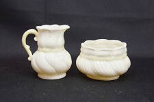 Belleek Green Mark Creamer and Sugar