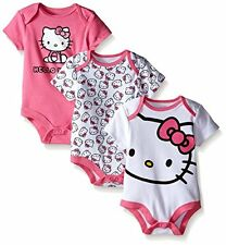 Hello Kitty Baby-Girls Bodysuits, White/Pink, 6/9 Months Pack of 3