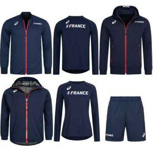 France ASICS Athlétisme Sport Veste de Sûrvetement Short Sweat Bleu Neuf