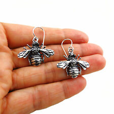 Bee Insect 925 Sterling Silver Bumblebee Drop Earrings