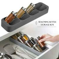 Eight Slots Drawer Condiment Seasoning Bottle Box Kitchen Storage Rack Organizer