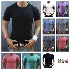 Men's T-Shirt Plain Blank Crew Neck Slim Fit Muscle Gym Fashion Casual Tee S-2XL