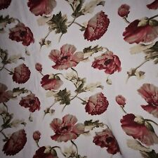 Beautiful Cream & Red Floral Curtains Poppy 69 X 44 Pair 1
