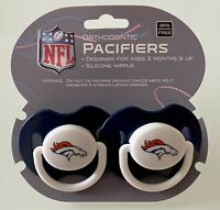 2 Pack NFL Football Denver Broncos Baby Boys/Girls Orthodontic Pacifier BPA FREE